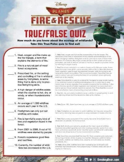 Free Printable Disney Planes Fire and Rescue True False Quiz ...