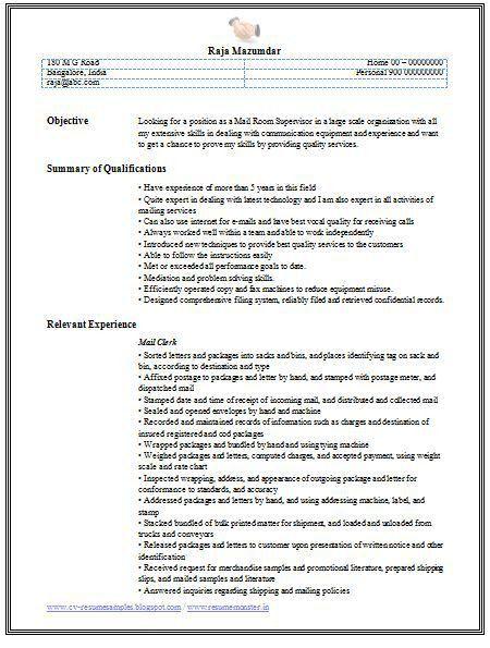 15+ Excellent Mailroom Clerk Resume Samples : Vinodomia