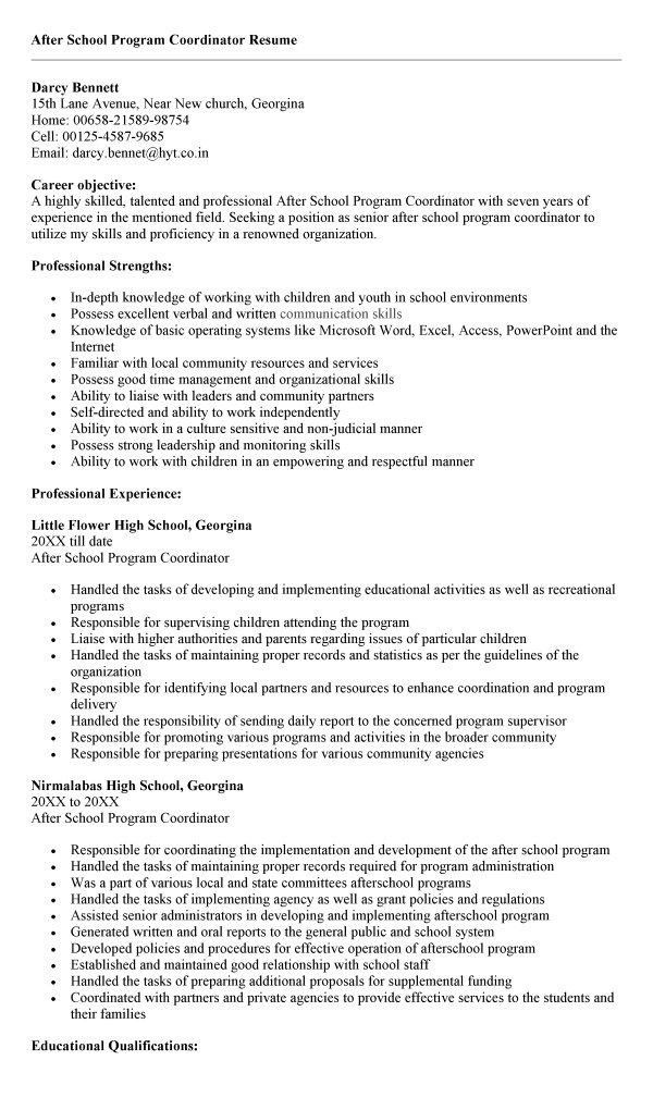 After School Program Resume - Best Resume Collection