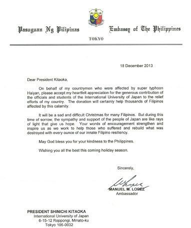 Letter of Appreciation from Philippine embassy