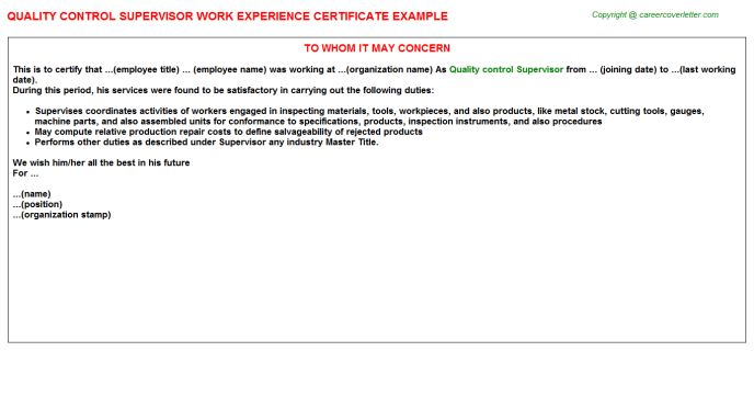 Quality Control Supervisor Work Experience Certificate
