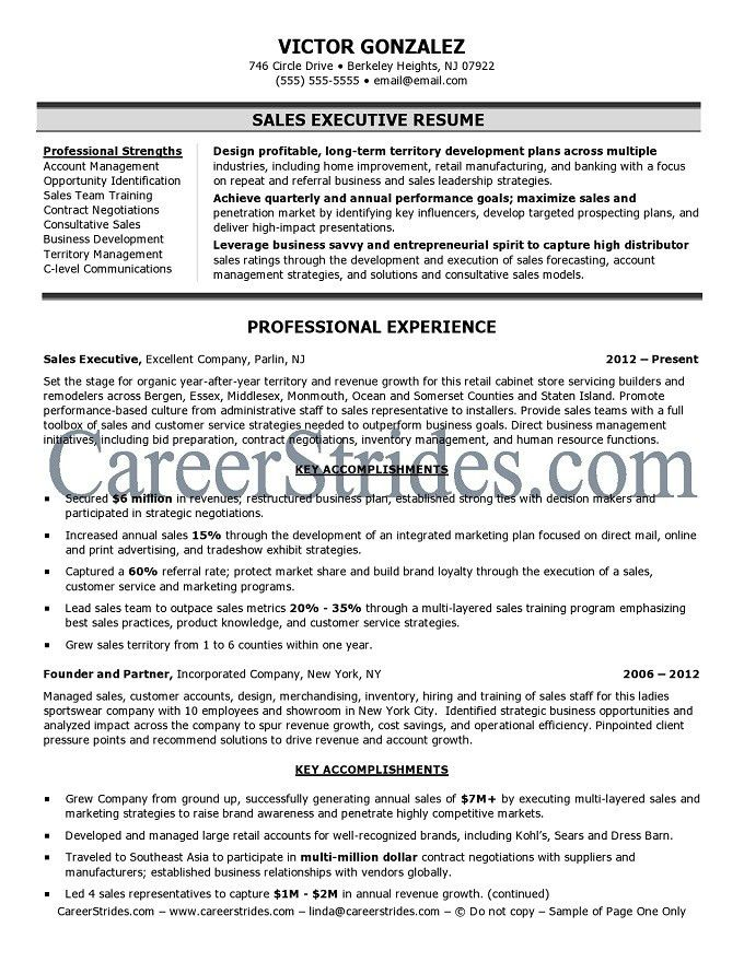Sales Resume Sample. 600802: Sales Executive Resume ? Resume ...