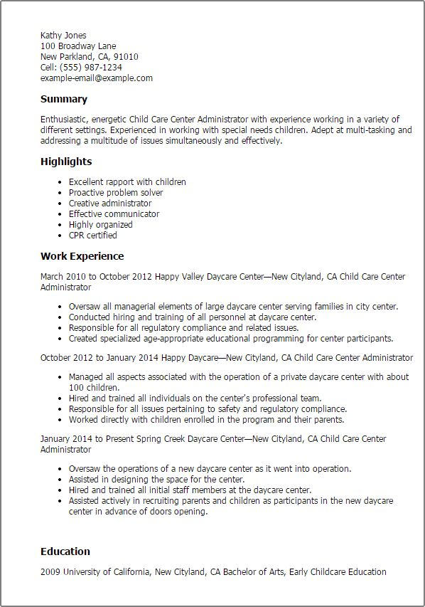 childcare resume template provider resume professional child