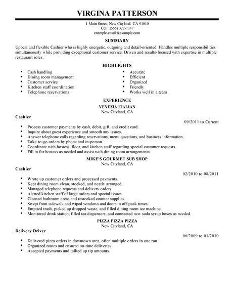 Interesting Cashier Resume Examples For Job Application : Vntask.com