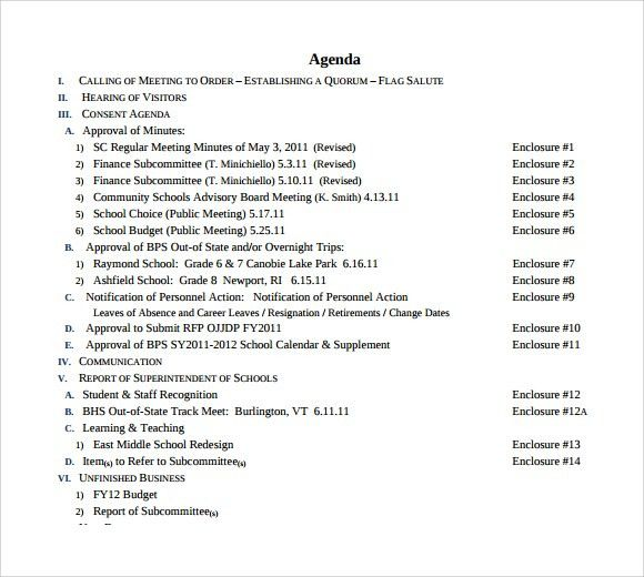 Sample School Agenda - 8+ Documents in PDF, Word