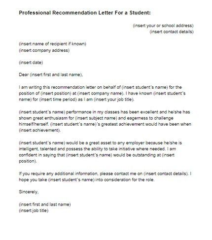 Recommendation Letter for a Student Template | Just Letter Templates