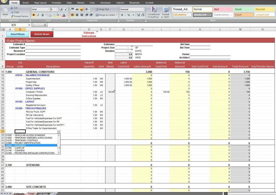 Construction Estimate Spreadsheet Template Free | Mytemplate.co