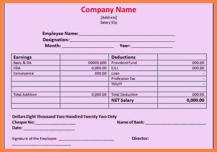 Basic Payslip Template Excel Download [Template.billybullock.us ]