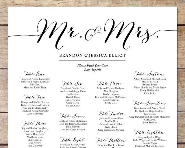 Simple Wedding Seating Chart, Romantic Wedding, Customizable ...