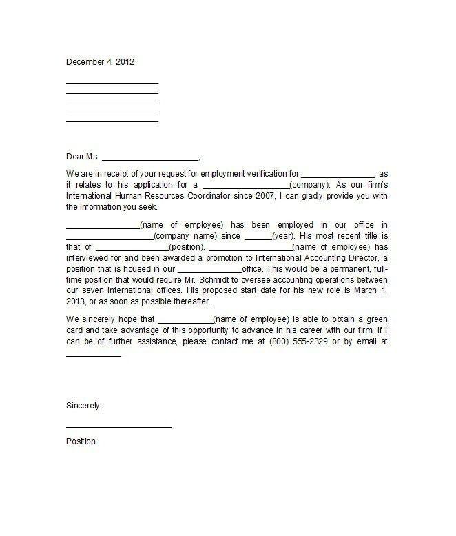 Letter Format For Employment Verification | The Letter Sample