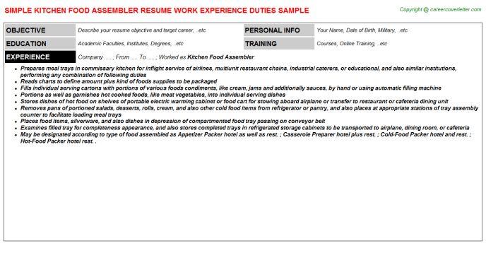 Kitchen Food Assembler Resume Sample