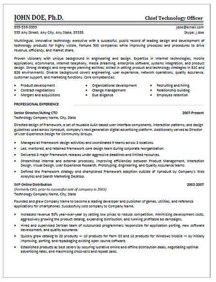 cto resume sample. director of it resume example project manager ...