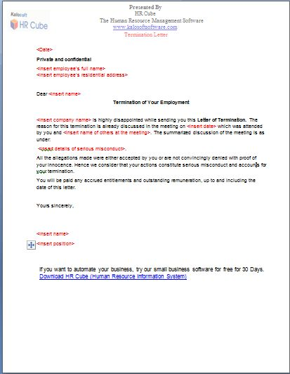 template employment termination letter termination of employment ...