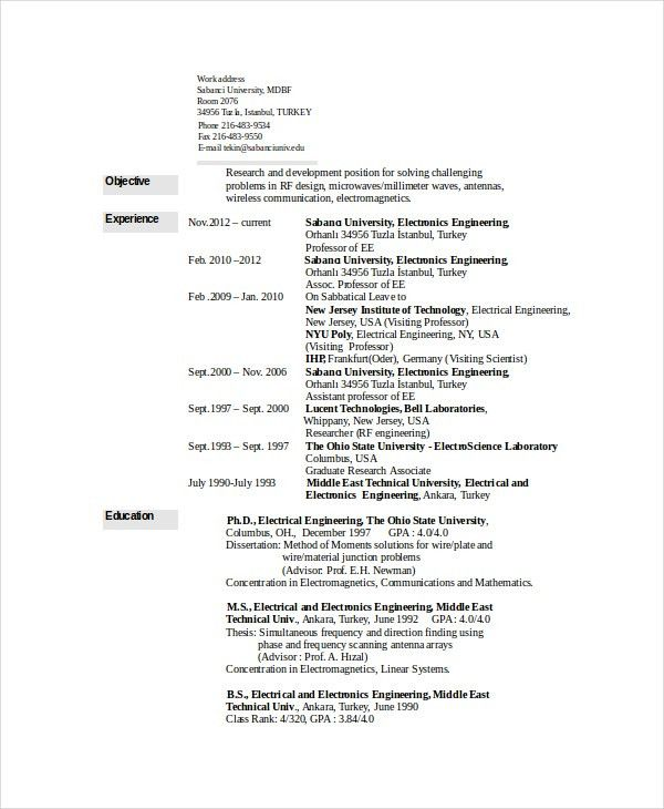 Electrical Engineering Resume Template - 6 Free Word, PDF Document ...