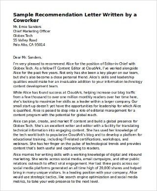 Sample Recommendation Letter for Coworker - 6+ Examples in Word, PDF