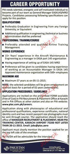 Jobs In Pakistan International Airlines Corporation PIAC Apply ...