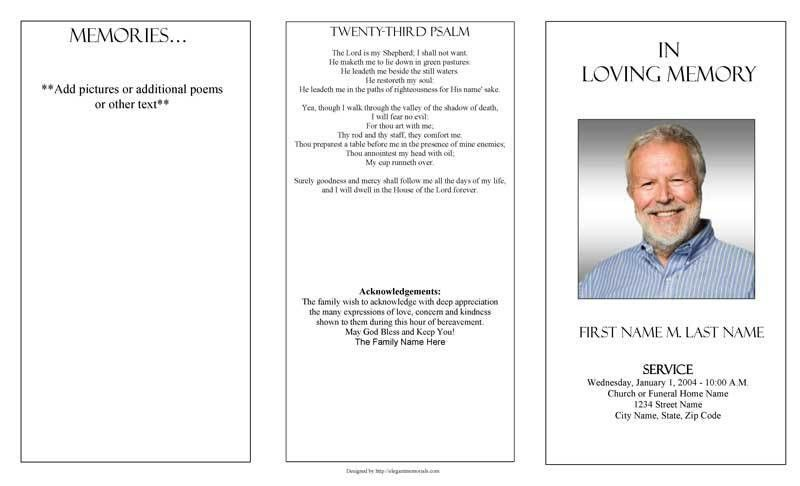 Funeral Program Templates | Trifold Plain Template
