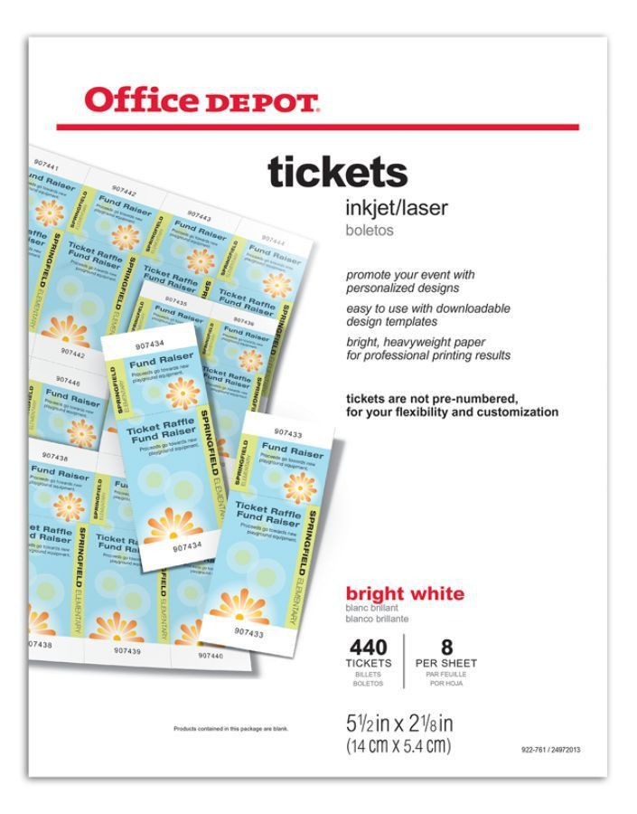 Office Depot Brand InkjetLaser Tickets 5 12 x 2 18 Bright White ...