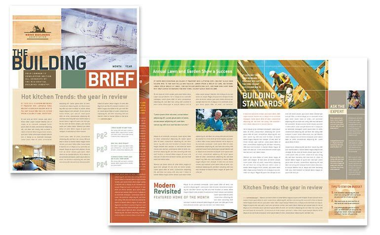 Home Builders & Construction Newsletter Template - Word & Publisher