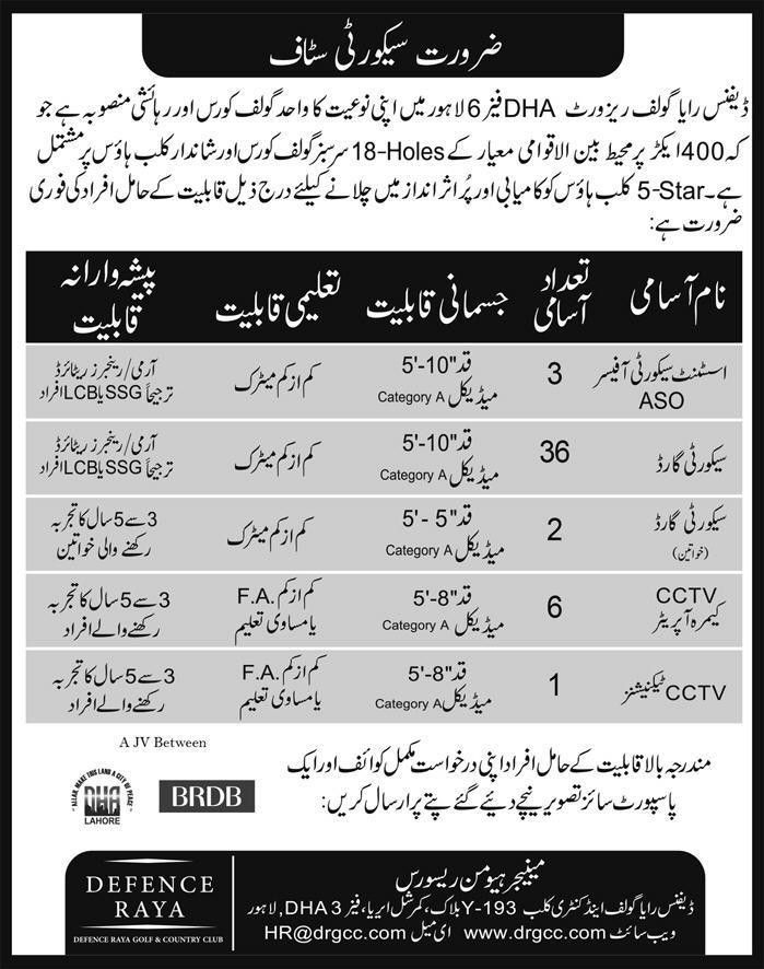 Jobs In Defence Raya Golf And Country Club 06 Aug 2017