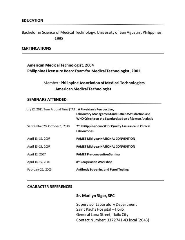 medical laboratory technician resume sample. resume for certified ...