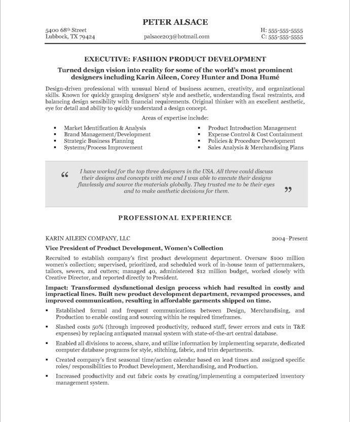 Fashion Executive | Free Resume Samples | Blue Sky Resumes