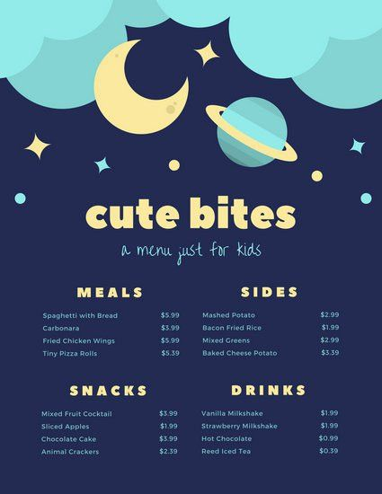 Blue Yellow Illustrated Stars Space Kids Menu - Templates by Canva