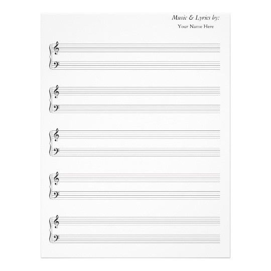 Blank Sheet Music Grand Staff Bass and Treble | Zazzle.com