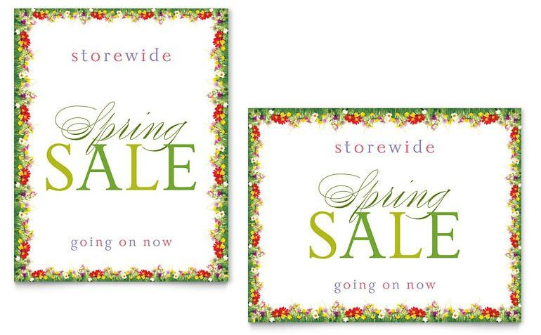 Floral Border Sale Poster Template - Word & Publisher