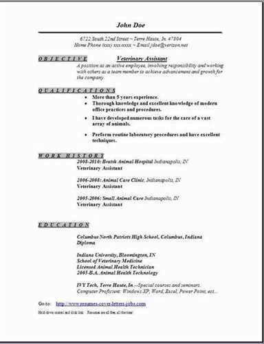 No Expertise Veterinary Assistant Resume Test