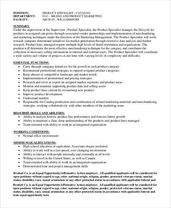 Sample Marketing Manager Job Description - 8+ Examples in PDF
