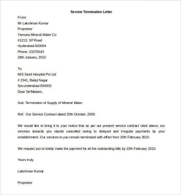 Termination Letter Template Sample For Business Service ...