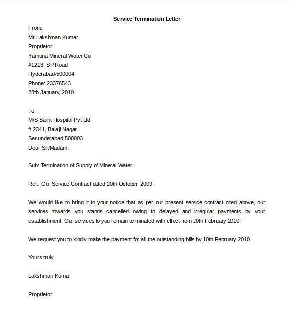 service termination letter template