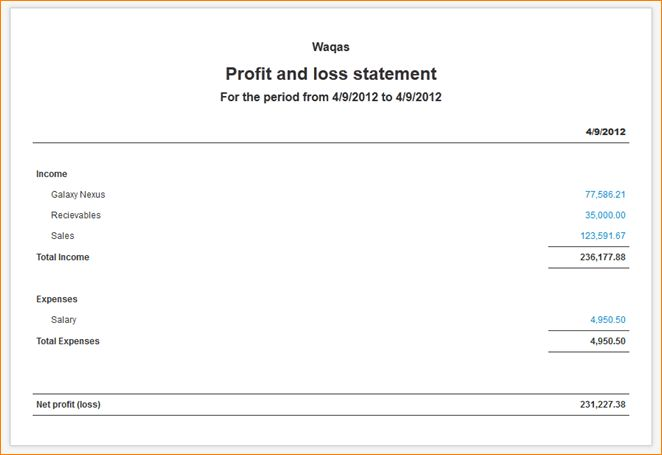 9+ simple profit and loss statement | academic resume template