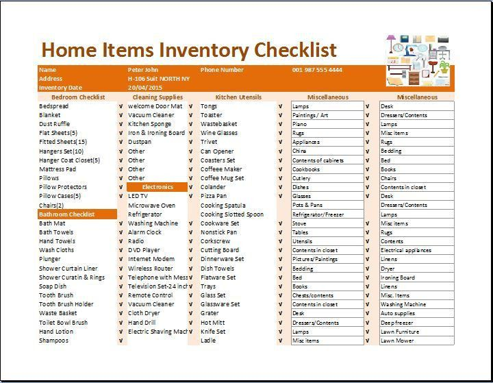 MS Excel Home Inventory Checklist Template | Formal Word Templates