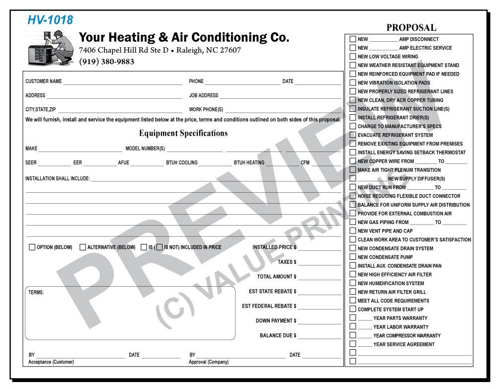 Free design, Fast Shipping on HVAC forms, HVAC invoices & Work ...