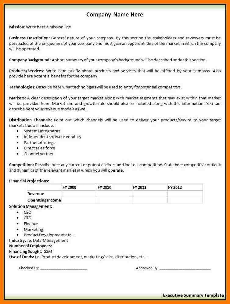 9+ business summary template | park-attendant