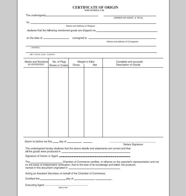 Certificate Of Origin Template. Sample Certificate Of Origin (Us ...