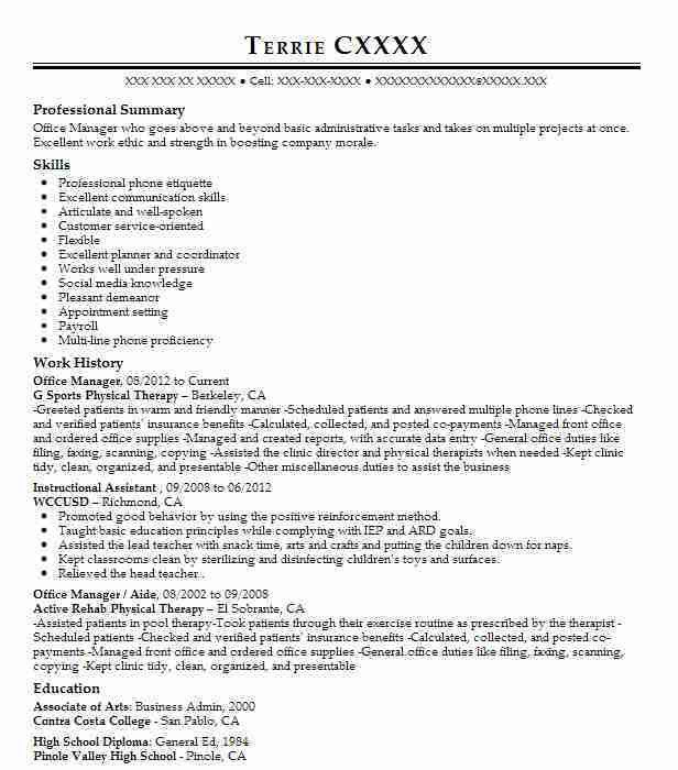 best office manager resumes
