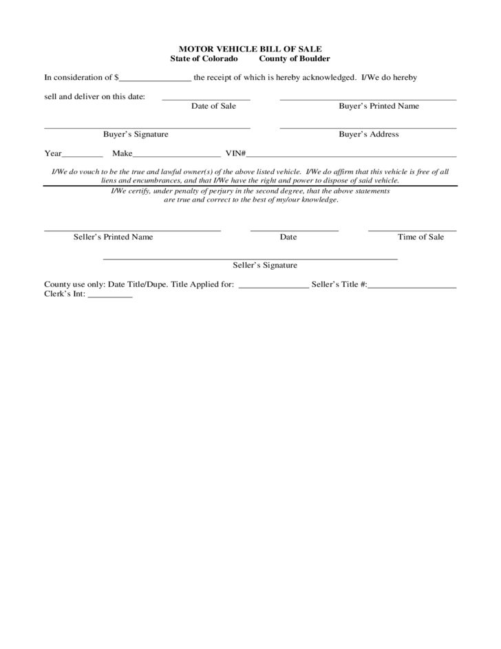 Sample Motor Vehicle Bill of Sale Form - Colorado Free Download