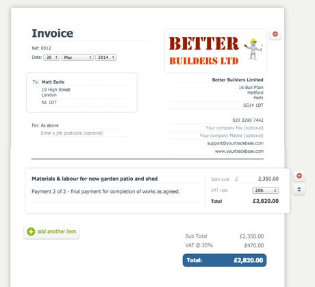 Download Tradesman Invoice Template Uk | rabitah.net