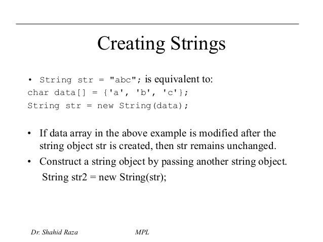 Arrays string handling java packages