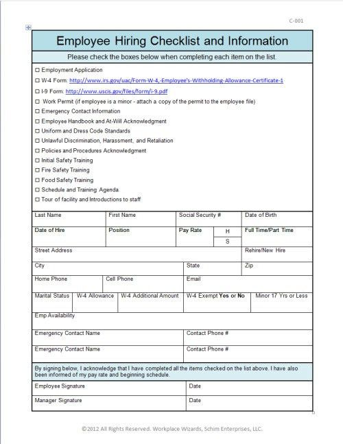 Employee New Hire Checklist – Workplace Wizards Restaurant Consulting