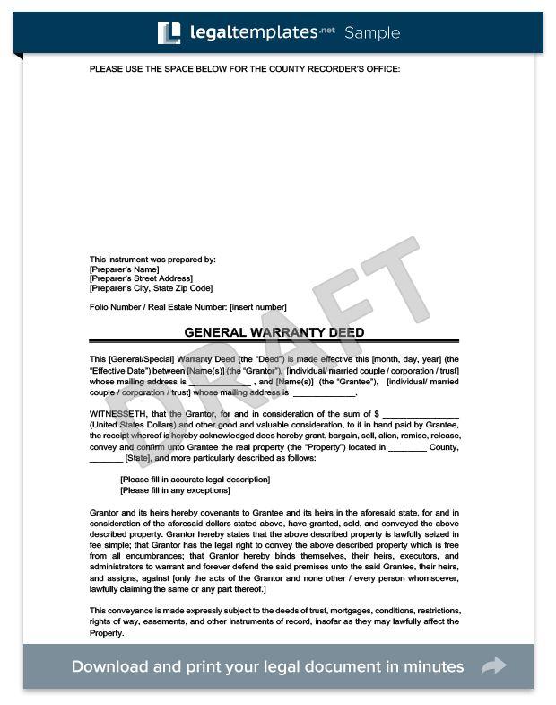 Warranty Deed | Legal Templates