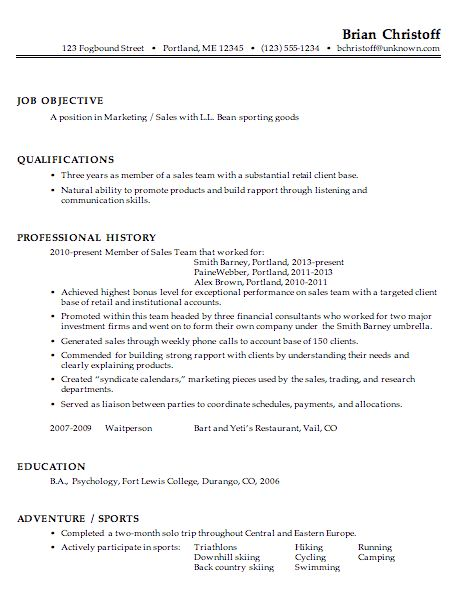 Sales Marketing Resume Example | EssayMafia.com