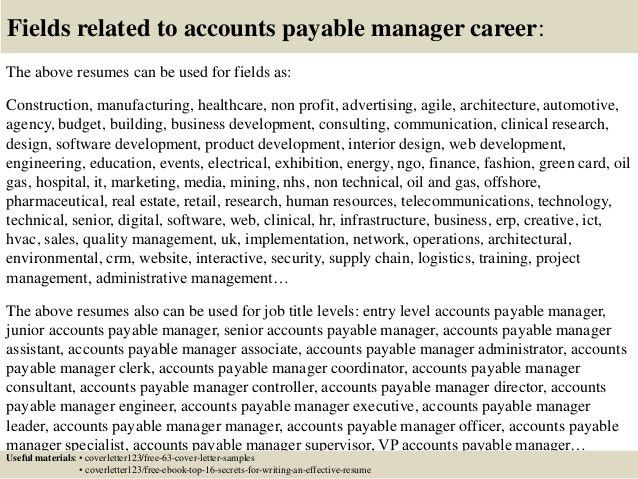 Collection of Solutions Accounts Payable Manager Cover Letter ...