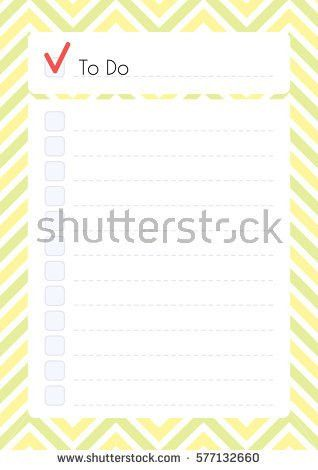 Printable Diary Page Do Checklist Daily Stock Vector 577132660 ...