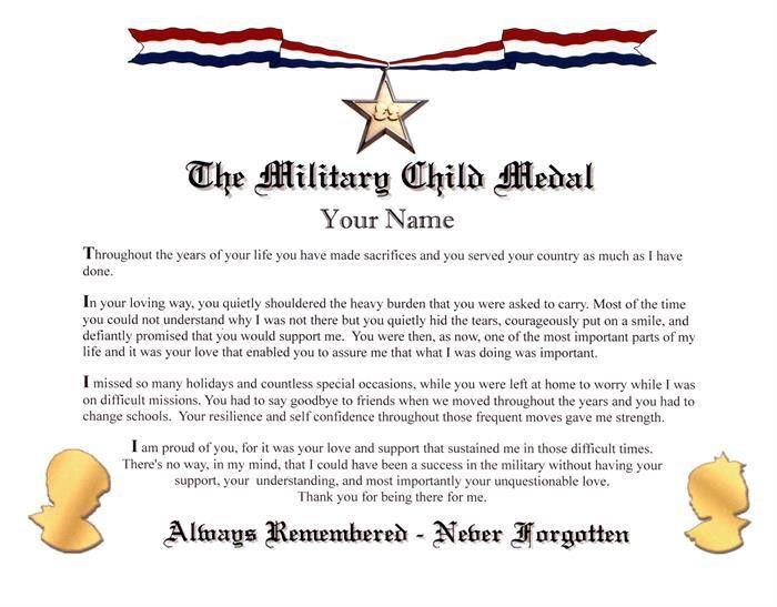 Military Child Medal