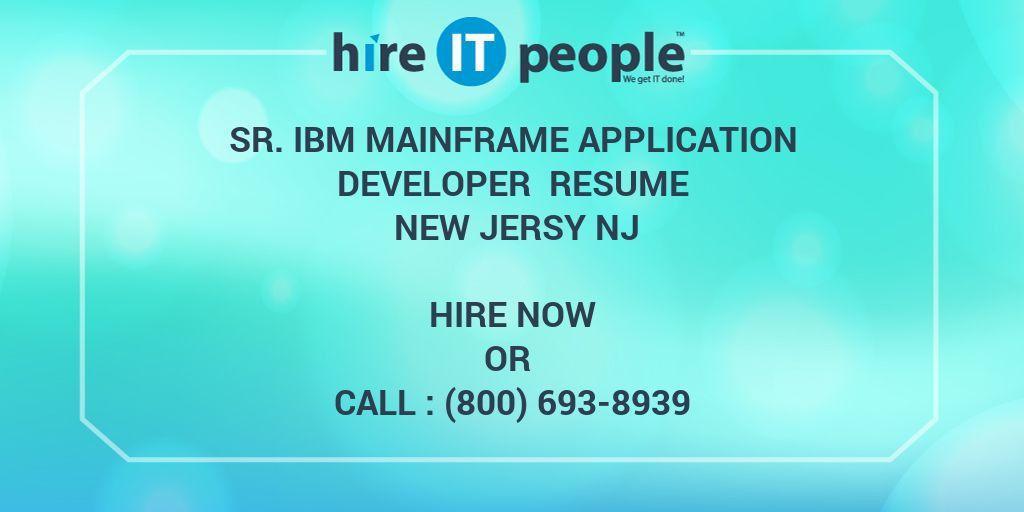 Sr. IBM Mainframe Application developer Resume New Jersy NJ - Hire ...