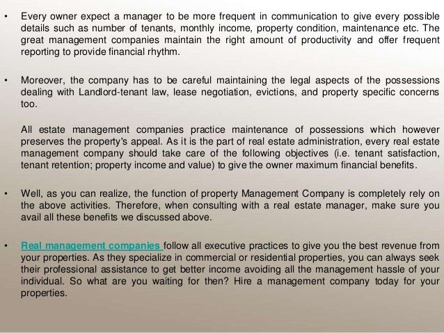 Functions of a property management company